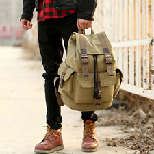 Fashon Men Vintage Canvas Backpack Rucksack School Travel Hiking Camping Bag