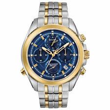 Reloj para Hombre Bulova Precisionist Crono Fecha Esfera Azul Pulsera dos tonos 98B276
