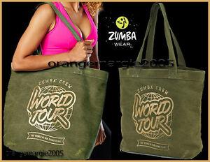 "Zumba JUMBO Army Green Denim w Gold 19""Wx16""Hx7""D TOTE BAG-Gym,Travel,DURABLE!"