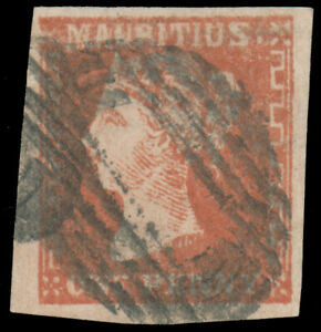 MAURITIUS 1859 1p VERMILION ON LAID PAPER USED #16 full margins barred oval canc