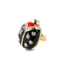 New Enamel Ladybug Cocktail Ring Pave Rhinestone Women's Gift Jewelry Red Black