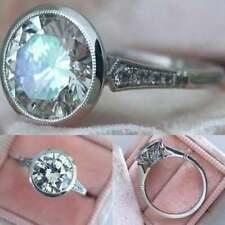 Engagement Ring Solid 14k White Gold 2.06 Carat Bezel Round Moissanite Diamond
