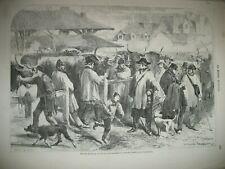 POISSY MARCHé AUX BESTIAUX LES HALLES PARIS TUILERIES NAPOLEON III GRAVURES 1859