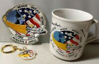 NASA Space Shuttle Challenger STS-51L Mission A-B Patch Mug Keychain Lot Vintage