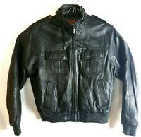 Hudson Men Leather Black Multi Pocket Bomber Jacket Full Zipper
