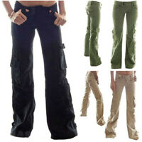 Women Casual Long Cargo Loose Pants Pocket Overalls Dungarees Wide Leg Trousers