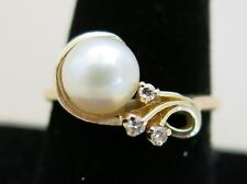 14K Yellow Gold Ring Pearl & 3 Small Diamonds Size 9.25 3.7g [2969]