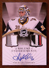 2007-08 RYAN MILLER THE CUP EMBLEMS OF EMDORSEMENTS DUAL PATCH & AUTOGRAPH /15