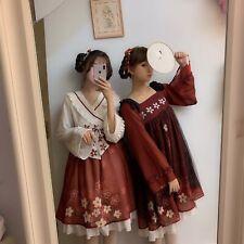 Sankosan Cherry Blossom Print Lolita OP Black/Red Dress