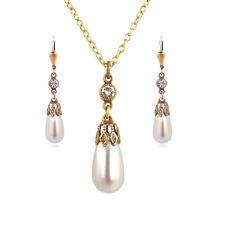 Schmuckset perle mit kristallen Von Swarovski grau Gold nobel schmuck