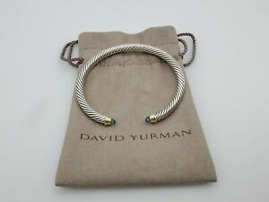 David Yurman Cable Classics Bracelet with Blue Topaz & 14K Gold, 5mm size Large
