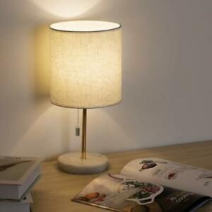 Marble Bedside Table Lamp Modern Nightstand Lamp Pull Chain  Bedroom Living Room