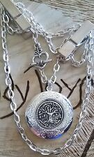 Pretty, round Tree of life locket,  thick chain necklace  holds 2 pics