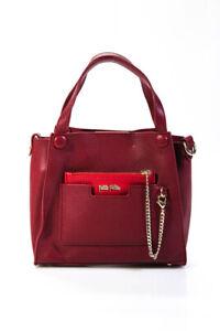 Folli Follie Womens Faux Leather On The Go Mini Tote Crossbody Handbag Burgundy