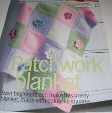 Patchwork Baby Blanket with Flowers ~ Aran Knitting Pattern ~ Easy Design