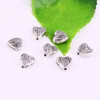 20/200ps Antique Silver Metal Heart Stripe Loose Beads DIY Jewelry Making 8mm