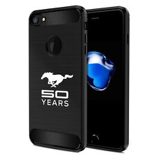 iPhone 7 Case, Ford Mustang 50 Years Black TPU Shockproof Carbon Fiber Texture