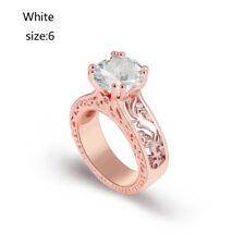 Vintage Round Cut 14K Rose Gold&Yellow Gold Filled Gift Wedding Engagement Ring