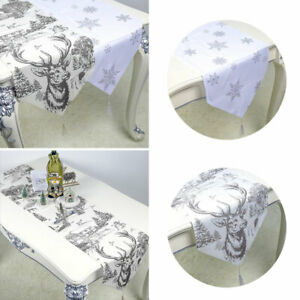 Christmas Table Runner Table Cover Wipe Clean Table Cloth Xmas Party Decorations
