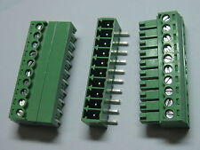 250 pcs Screw Terminal Block Connector 3.5mm Angle 10 pin Green Pluggable Type