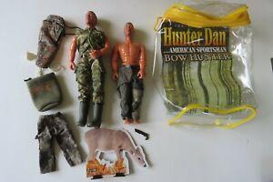 "2 - Hunter Dan 8"" Action Figures  LOT Pants, Vest & Accessories"