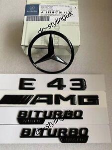 Gloss Black Rear Star Badge & Emblems for Mercedes E43 AMG W213 2016+ Saloon