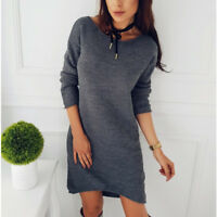 Women Long knitted Sweater Casual Long Sleeve Jumper Pullove Mini Dress
