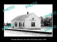 OLD POSTCARD SIZE PHOTO OF DONNELLY MINNESOTA THE RAILROAD DEPOT STATION c1960
