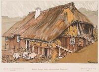 GEORGI, Alter schwarzwälder Bauernhof, 1902, Repro Farblithographie