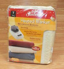 Genuine Sunbeam Twin Sized Off White Heated SoftBlend Blanket **READ**