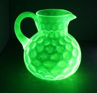 Green Vaseline Early American Pressed Glass Coin Dot Pitcher Hobbs Brockunier? !