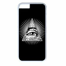 For iPhone 4s 5s 5c 6 6s Plus White Case Cover Illuminati Eye Triangle Pyramid