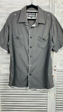 Quiksilver Button Up Shirt Mens L Grey Short Sleeve Check Double Chest Pocket