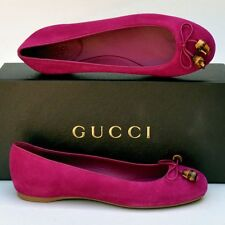 GUCCI New sz 37.5 - 7.5 Authentic Designer Bamboo Womens Ballet Flats Shoes
