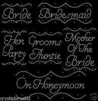 Iron on Rhinestone Diamante Bride Transfer Hen Party designs bridesmaid (frame)