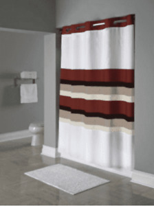 "Hookless Stripe Shower Curtain 71"" x 77"" Red, White, Multi-Colored, Polyester"
