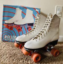Vintage Roller Derby Skates Womens Size 10 White - Urethane 28 Wheels - No. 982