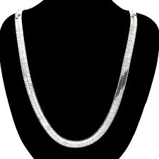"11mm x 30"" 18k WHITE GOLD PVD BONDED Men's & Woman's HERRINGBONE CHAIN NECKLACE"