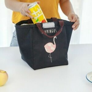 Flamingo Portable Insulated Canvas Cooler Picnic Lunch Bag Thermal Food Tote SHP