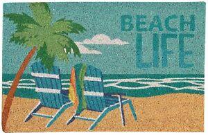 Casabella Beach Life Coir Outdoor Mat One Size Blue