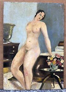 Tableau Ancien Huile Portrait Femme Nu Féminin Intérieur Art Déco Fleurs 1930