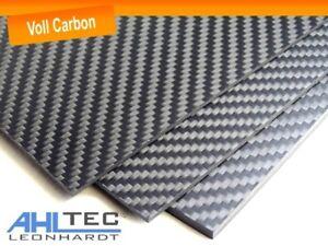 Carbon Platte 2mm / CFK Kohlefaser / Köper Voll Carbon / Größe wählbar