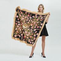 "Women's Fashion Rose Flower Print Scarf Square Twill Silk Blanket Shawl 51""*51"""
