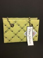 Diane Gilman Avocado Green with Gold Shoulder Bag Silk Quilted Change Purse NWT