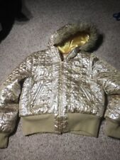 Apple Bottoms Women's size L Puffy Coat Fur Hood Gold Down Filled zipper Jacket