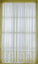 CREAM VOILE NET CURTAIN WITH LACE BASE SOLD BY THE METRE - Made in UK