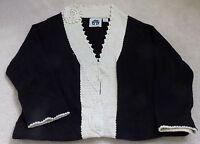 Storybook Knits Black & White Women's Cardigan Sweater Size 1X