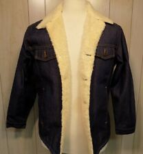 Sears Roebuck Western Wear Sherpa Lined Dark Denim Jean Jacket Trucker 40-R