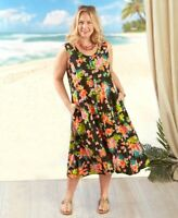 *****Hawaiian Floral Print Dress Women's Size Large, Black & Multi*****