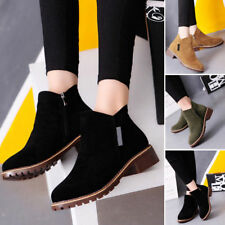 Ladies Womens Winter Snow Faux Suede Zipper Chunky Low Heel Ankle Boots Shoes